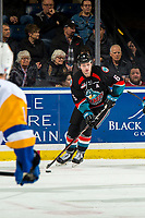 KELOWNA, BC - DECEMBER 01: Kaedan Korczak #6 of the Kelowna Rockets skates with the puck against the Saskatoon Blades at Prospera Place on December 1, 2018 in Kelowna, Canada. (Photo by Marissa Baecker/Getty Images)