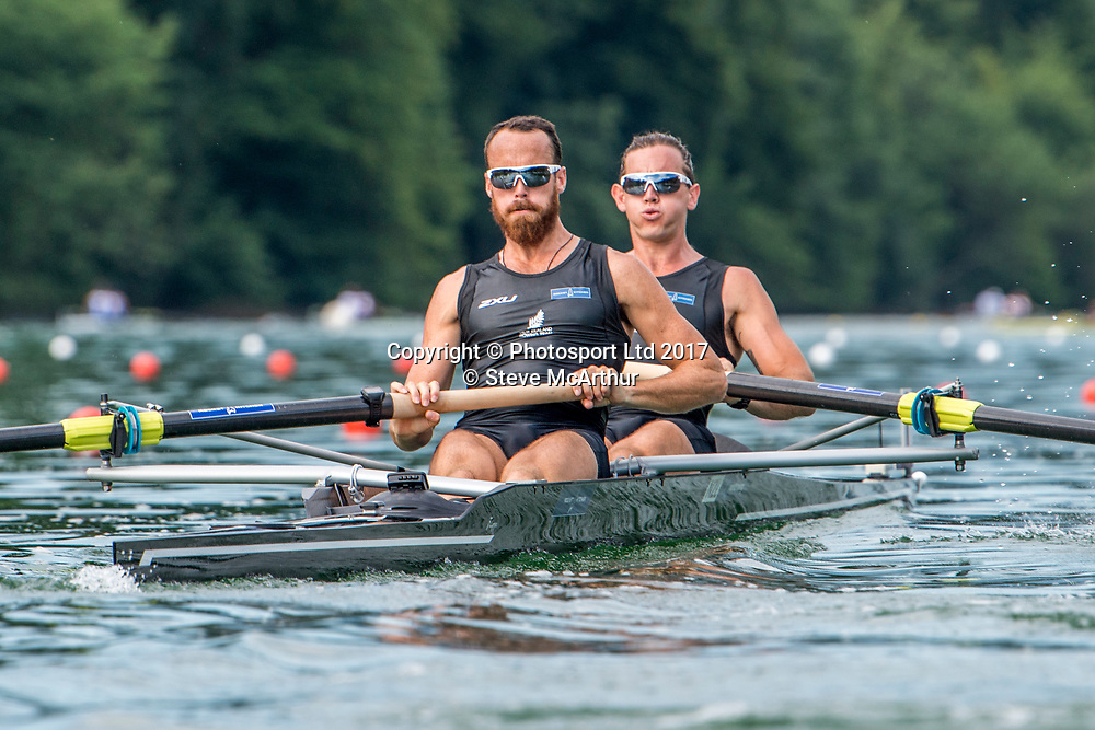 Alex Kennedy (Te Awamutu RC) and Cameron Webster (North Shore RC) NZ Mens Coxless Pair racing the qualification heat at WCIII on the Rotsee, Lucerne, Switzerland, Friday 7th July 2017 © Copyright Steve McArthur / www.photosport.nz