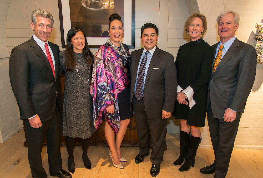 L-R: Joseph and Claire Greenberg, Monique Carranza and Houston ISD Superintendent Richard Carranza, Sarah and Douglas Foshee pose for a photograph during a State of the Schools VIP reception at the Foshee's, January 17, 2017.