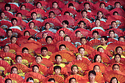 Performers take part in a community event to herald the   upcoming Olympics, in Jinchuan, Gansu, in western China.