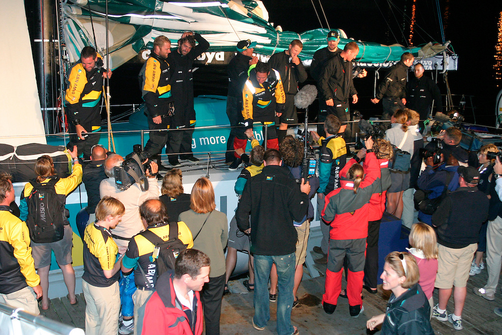 Volvo Ocean Race 2005-2006. Leg 1 finish, 1st December 2005 - Cape Town, South Africa. .ABN AMRO 2, skippered by Sebastian Josse, arrive in Cape Town after finishing Leg 1...