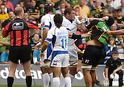 Northampton, GREAT BRITAIN, Baths Peter SHORT and Saints Paul TAPAI tangle in front of Referee Wayne BARNES, during the Northampton Saints vs Bath Rugby, in the Guinness Premiership Rugby match, at  Franklin's Gardens, Northampton, ENGLAND on 16/09/2006 [Photo, Peter Spurrier/Intersport-images].