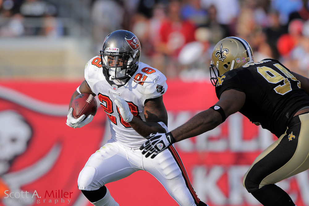 Tampa Bay Buccaneers running back Kregg Lumpkin (28) runs upfield during the Bucs 26-20 win over the New Orleans Saints at Raymond James Stadium on Oct. 16, 2011 in Tampa, Fla...©2011 Scott A. Miller