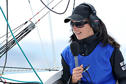 Hannah White provides live commentary from onboard. Photo: Chris Davies/WMRT