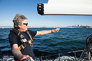 Stephen Blitch on his boat, Prime Number, in San Francisco Bay; October 8, 2016