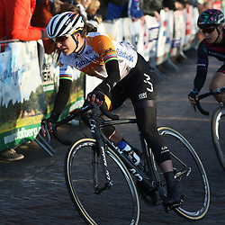 13-03-2016: Wielrennen: Acht van Dwingeloo: Dwingeloo <br />DWINGELOO (NED) wielrennen<br />Marianne Vos is vandaag voor het eerst in tien maanden weer in competitie. De olympische kampioene van Londen was blij weer rugnummers op te doen in Dwingeloo.