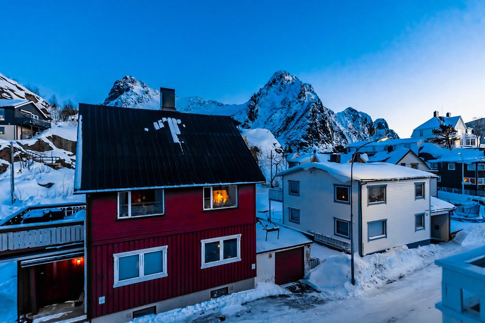 Houses in Svolvaer, Lofoten Islands, Arctic, Northern Norway seen predawn.