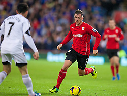 CARDIFF, WALES - Sunday, November 3, 2013: Cardiff City's Andrew Taylor in action against Swansea City during the Premiership match at the Cardiff City Stadium. (Pic by David Rawcliffe/Propaganda)