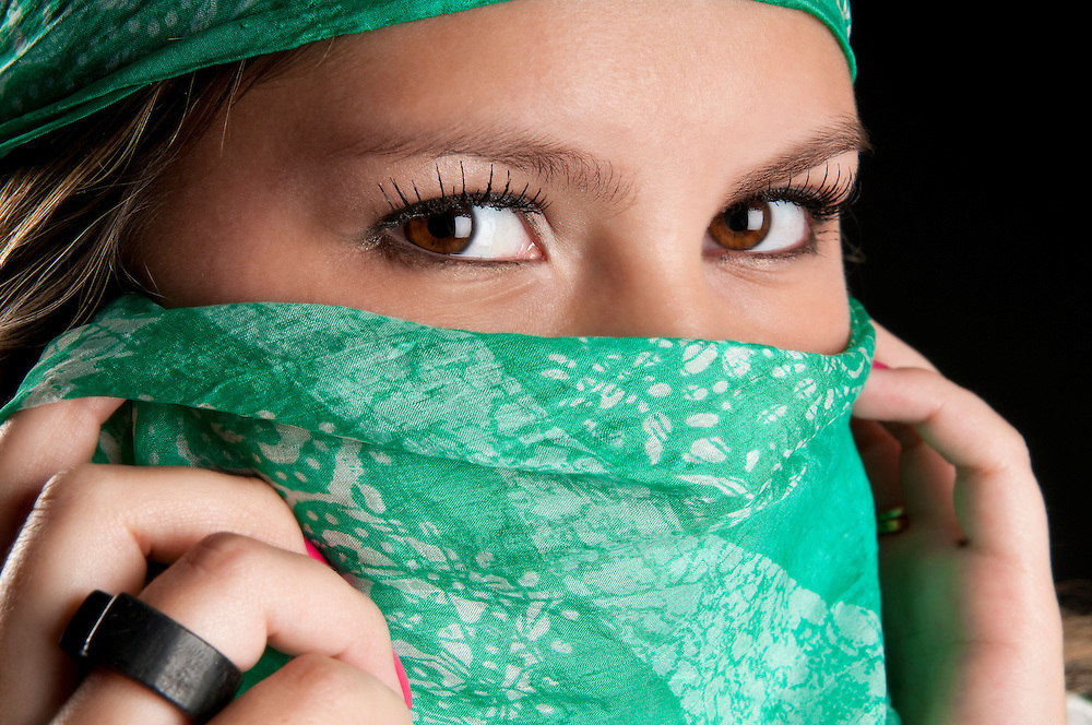 Close up of eyes of young woman.