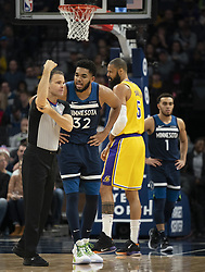 January 6, 2019 - Minneapolis, MN, USA - Minnesota Timberwolves center Karl-Anthony Towns (32) argues with referee Mark Lindsay after he was called for a first half foul against the Los Angeles Lakers on Sunday, Jan. 6, 2019 at Target Center in Minneapolis, Minn. The Minnesota Timberwolves defeated the Los Angeles Lakers, 108-86. (Credit Image: © Jeff Wheeler/Minneapolis Star Tribune/TNS via ZUMA Wire)
