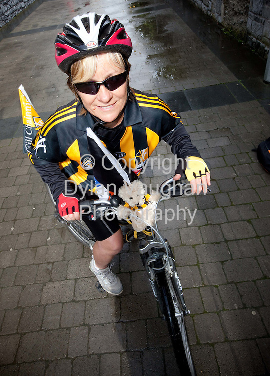 3/9/2009.Anne Smart pictured in Kilkenny on her bike before heading off to cycle to the All Ireland Final for Charity..Picture Dylan Vaughan.