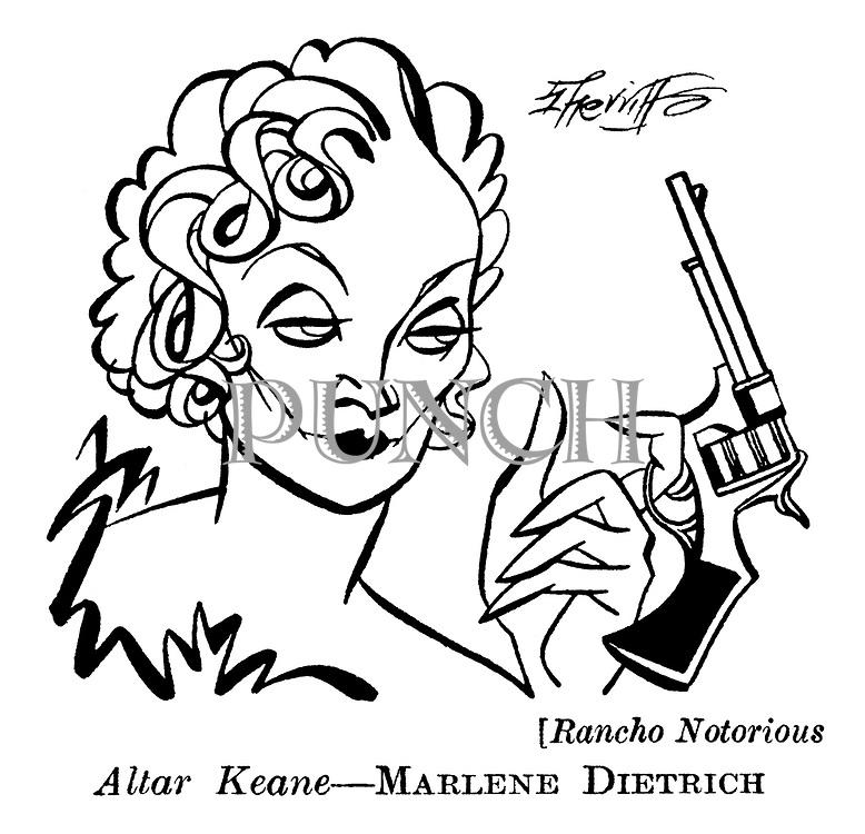 Punch cartoons by Robert Sherriffs..Film Review ; ..Rancho Notorious ;  Marlene Dietrich