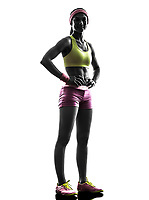 one  woman runner exercising posing in silhouette on white background