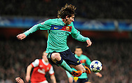 Barcelona forward Lionel Messi, controles the ball during a Champions League, round of 16 first leg soccer match between Arsenal and Barcelona at the Emirates stadium in London, UK, Wednesday, Feb. 16, 2011.