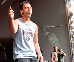 """Abs ( full name Richard Abidin Breen) of the Boy band Five performing on stage at """" Feel The Noise"""". A Local Radio stations (Rock FM)  charity pop event which was held at Blackburn Rovers Football Ground Saturday 2nd June 2001."""