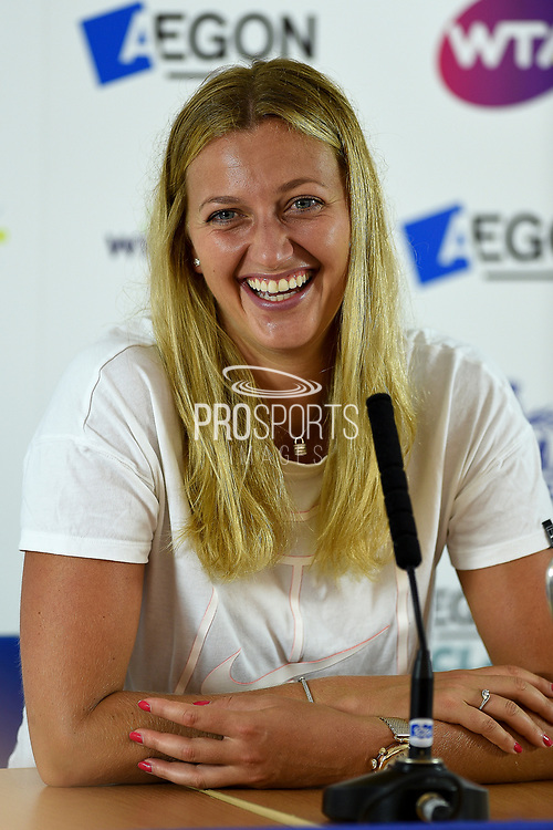 Petra Kvitova of the Czech Republic smiles during the press conference at the Final of the Aegon Classic Birmingham at Edgbaston Priory Club, Edgbaston, United Kingdom on 25 June 2017. Photo by Martin Cole.