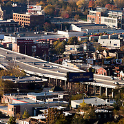 Kansas City's West Side area, Interstate 35, and a train moving through. Taken from Power and Light Building.