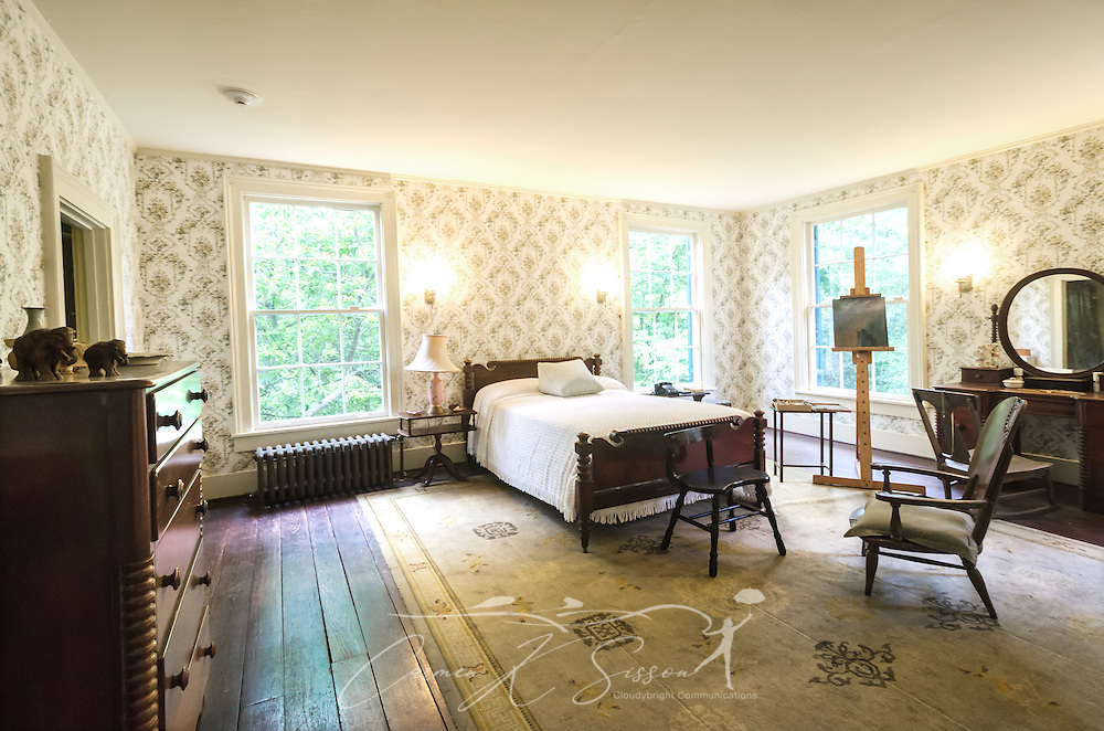 Estelle Faulkner's bedroom is pictured at Rowan Oak, May 30, 2015, in Oxford, Mississippi. Estelle, author William Faulkner's wife, enjoyed painting and bird watching. Because William Faulkner disliked air conditioning, the window unit in the room was not installed until the day after he died. (Photo by Carmen K. Sisson/Cloudybright)