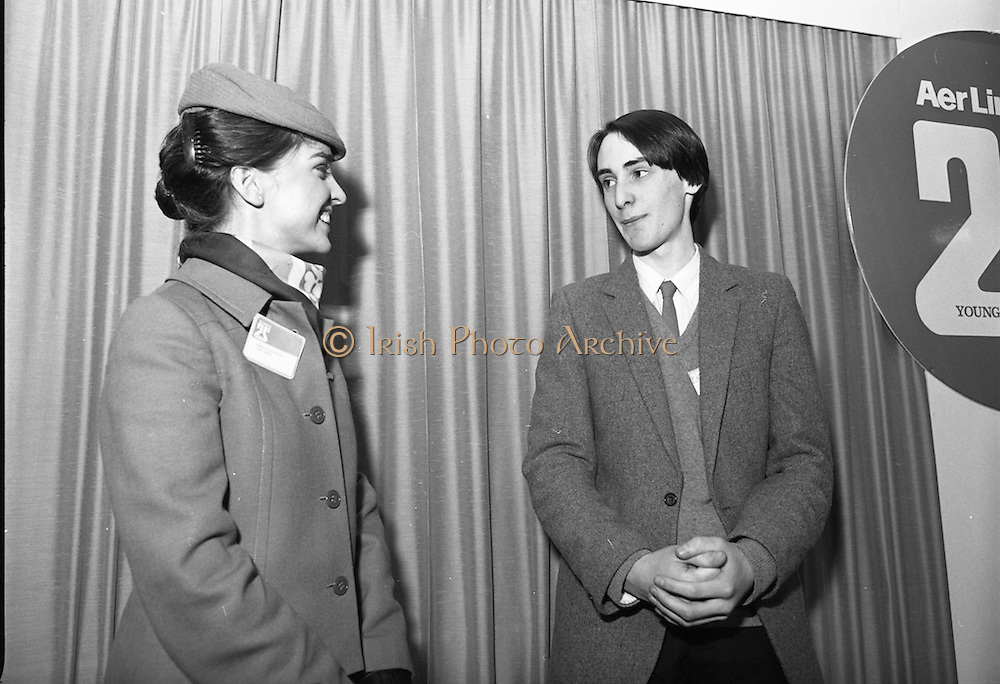 11/01/1985.01/11/1985.11th January 1985.The Aer Lingus Young Scientist Exhibition at the RDS Dublin ..Ronan McNulty of Rathfarhnam, Dublin, the Aer Lingus Young Scientist of the Year 1985 with an Aer Lingus Hostess.