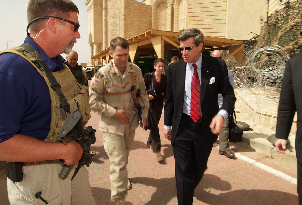 23 April 2004....Tikrit, Iraq.....US Ambassador to Iraq Paul Bremer makes a visit to Tikrit...Amidst the tightest of security the Ambassador flew from Baghdad to the US Forces base in one of Saddams palaces in Tikrit. Four BlackHawk helicopters and two Apaches ferried the Ambassador and his team of aides and close protection security guards between the cities.....After almost one year in Iraq and as the 30th June deadline approaches Mr Bremer  is the number one target for any anti coalition insurgent groups.....