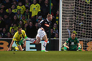 Picture by Paul Chesterton/Focus Images Ltd +44 7904 640267.26/01/2013.Scott Rendell (Luton Town) scores scores what turns out to be the winning goal and celebrates during the The FA Cup 4th Round match at Carrow Road, Norwich.