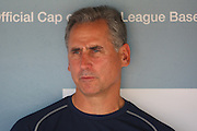 LOS ANGELES - MAY 03:  Manager Bud Black #20 of the San Diego Padres talks to the media before the game against the Los Angeles Dodgers at Dodger Stadium on Sunday, May 3, 2009 in Los Angeles, California.  The Dodgers won their 10th straight home game while defeating the Padres 7-3.  (Photo by Paul Spinelli/MLB Photos) *** Local Caption *** Bud Black