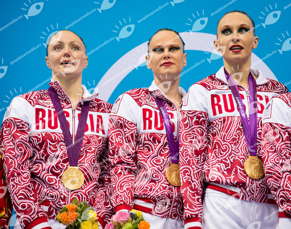 Russia RUS Gold medal Olympic Champion.Team Final Podium.London 2012 Olympics - Olimpiadi Londra 2012.day 15 Aug.10 Synchronized Swimming.Photo G.Scala/Deepbluemedia.eu/Insidefoto