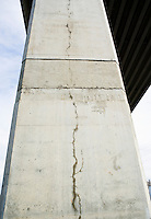 A crack in a support column of the West Seattle Freeway bridge, Seattle, Washington 2009