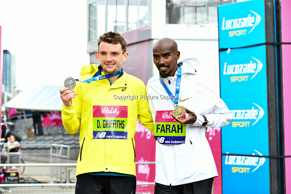 Dewi Griffiths and Mo Farah winner of the elite race at The Vitality Big Half 2019 on 10 March 2019, London, UK.