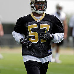 08 May 2009: Saints fourth round selection Stanley Arnoux (57) a linebacker from Wake Forest participates in drills during the New Orleans Saints  rookie minicamp held at the team's practice facility in Metairie, Louisiana.