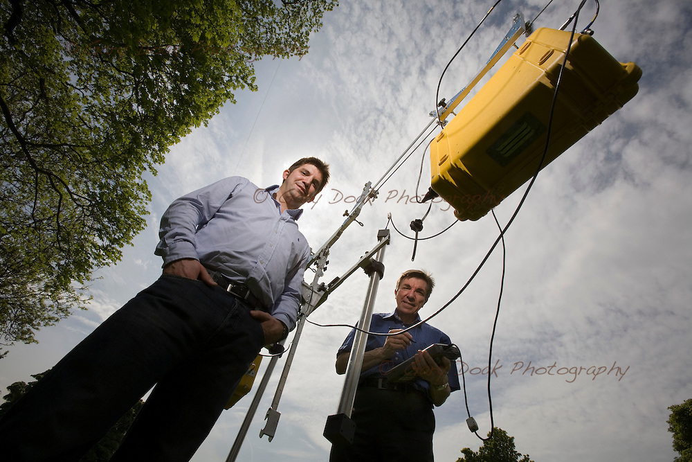Gordon Stove, Managing Director (left) and Dr. Colin Stove of Adrok demonstrate their sub-surface Spectrometric Mapping technology.