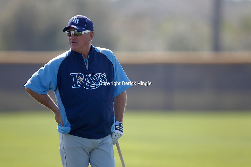 February 20, 2011; Port Charlotte, FL, USA; Tampa Bay Rays manager Joe Maddon during spring training at Charlotte Sports Park.  Mandatory Credit: Derick E. Hingle