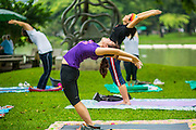 06 OCTOBER 2012 - BANGKOK, THAILAND:  People do yoga exercises in Lumphini Park in Bangkok. The Thai government promotes exercise classes as a way staying healthy. Lumphini Park is 142 acre (57.6-hectare) park in Bangkok, Thailand. This park offers rare open public space, trees and playgrounds in the congested Thai capital. It contains an artificial lake where visitors can rent boats. Exercise classes and exercise clubs meet in the park for early morning workouts and paths around the park totalling approximately 1.55 miles (2.5 km) in length are a popular area for joggers. Cycling is only permitted during the day between the times of 5am to 3pm. Smoking is banned throughout smoking ban the park. The park was created in the 1920's and named after Lumbini, the birthplace of the Buddha in Nepal.   PHOTO BY JACK KURTZ