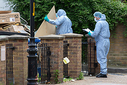 © Licensed to London News Pictures. 30/06/2019. London, UK. The scene in Walworth, South London where an investigation has been launched after a 18 year old self presented at a South London hospital suffering from multiple stab wounds. At the same time as the victim arrived at hospital police were called to Sutherland Walk in Walworth to reports of a fight. So far three men have been arrested on suspicion of murder.  Photo credit: George Cracknell Wright/LNP