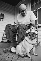 Therapy Pug Rufus enjoying the view... and the adoration of his Pop!