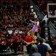 09 December 2017:  The San Diego State men's basketball team hosts the California Golden Bears Saturday afternoon. Red Panda performs on a unicycle during halftime. The Aztecs trail 39-34 at halftime.<br /> www.sdsuaztecphotos.com