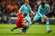 Netherlands Midfielder Frenkie de Jong (Ajax) holds off Portugal midfielder Bernardo Silva (10) who goes down after the challenge during the UEFA Nations League match between Portugal and Netherlands at Estadio do Dragao, Porto, Portugal on 9 June 2019.