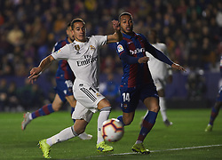 February 24, 2019 - Valencia, Valencia, Spain - Ruben Vezo of Levante UD and Lucas Vazquez of Real Madrid during the La Liga match between Levante and Real Madrid at Estadio Ciutat de Valencia on February 24, 2019 in Valencia, Spain. (Credit Image: © AFP7 via ZUMA Wire)
