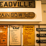 Historic railroad signs on display at the Colorado Railroad Museum in Golden, Colorado.