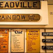 Historic railroad signs on display at the Colorado Railroad Museum in Golden, Colorado.
