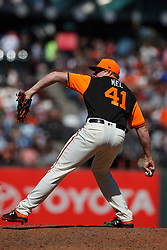 SAN FRANCISCO, CA - AUGUST 26: Mark Melancon #41 of the San Francisco Giants pitches against the Texas Rangers during the ninth inning at AT&T Park on August 26, 2018 in San Francisco, California. The San Francisco Giants defeated the Texas Rangers 3-1. All players across MLB will wear nicknames on their backs as well as colorful, non-traditional uniforms featuring alternate designs inspired by youth-league uniforms during Players Weekend. (Photo by Jason O. Watson/Getty Images) *** Local Caption *** Mark Melancon