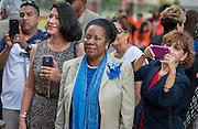 Representative Shelia Jackson Lee watches a ceremony to rename Jackson Middle School to Navarro Middle School in honor of Yolanda Black Navarro, October 5, 2016.