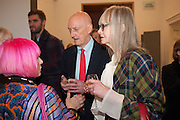 ZANDRA RHODES; ALLEN JONES; JAN DE VILLENEUVE, Opening of Bailey's Stardust - Exhibition - National Portrait Gallery London. 3 February 2014