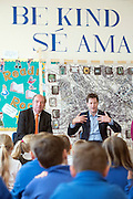 © Licensed to London News Pictures. 14/04/2015. Seaford, UK. Deputy Prime Minister and Leader of the Liberal Democrats, Nick Clegg joins local MP Norman Baker to visit Craddle Hill Primary School, Seafood, Sussex, today 13th April 2015, to participate with pupils in a workshop that aims to involve children and young people in community planning. . Photo credit : Stephen Simpson/LNP