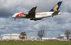 Heathrow Airport, London, March 28th 2016. A Singapore Airlines Airbus A380 reg. 9V-SKI about to land on runway 27L at London Heathrow.<br /> &copy;Paul Davey