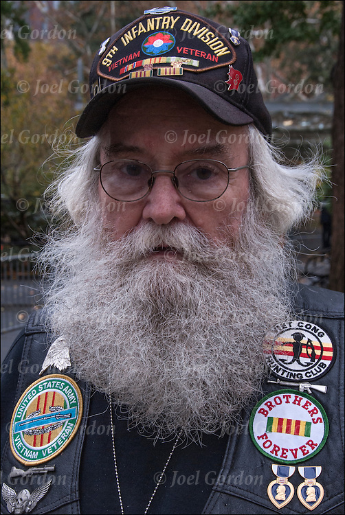 Vietnam Veteran wearing his military decorations at Veteran Day Parade.<br />