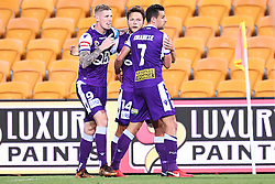 January 18, 2018 - Brisbane, QUEENSLAND, AUSTRALIA - Chris Harold of the Glory (#14, centre) celebrates with team mates after scoring a goal during the round seventeen Hyundai A-League match between the Brisbane Roar and the Perth Glory at Suncorp Stadium on January 18, 2018 in Brisbane, Australia. (Credit Image: © Albert Perez via ZUMA Wire)