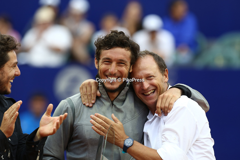 BUENOS AIRES, ARGENTINA - MARCH 01, 2015: RAFAEL NADAL of Spain Vs. JUAN Pico MONACO,   of Argentina at the final single match of ATP 250 Argentina Open at Buenos Aires Lawn Tennis Club on March 01, 2015 in Buenos Aires, Argentina<br /> Here JUAN MONACO (L) with ex player and organizer of the tournament MARTIN JAITE (R)<br /> &copy; PikoPress