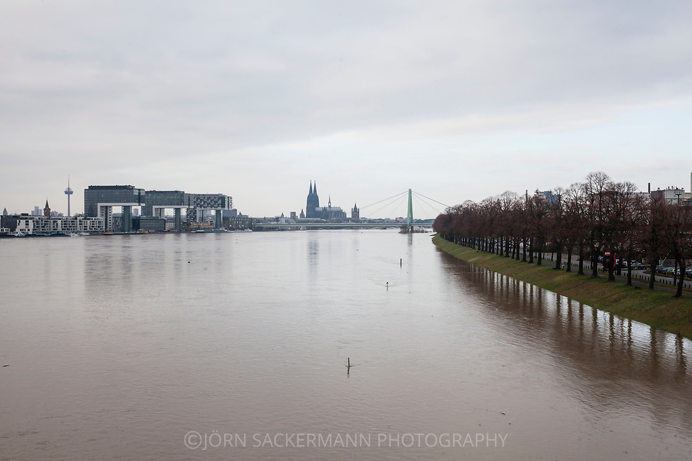 Cologne, Germany, 8. January 2018, flood of the river Rhine, view from the south to the Rheinau harbor and the cathedral, floodes Rhine meadow.<br />
