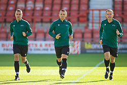WREXHAM, WALES - Friday, September 6, 2019: Referee Danilo Grujić (C) and his assistants Pavle Piper and Nemanja Petrović during the pre-match warm-up before the UEFA Under-21 Championship Italy 2019 Qualifying Group 9 match between Wales and Belgium at the Racecourse Ground. (Pic by Laura Malkin/Propaganda)